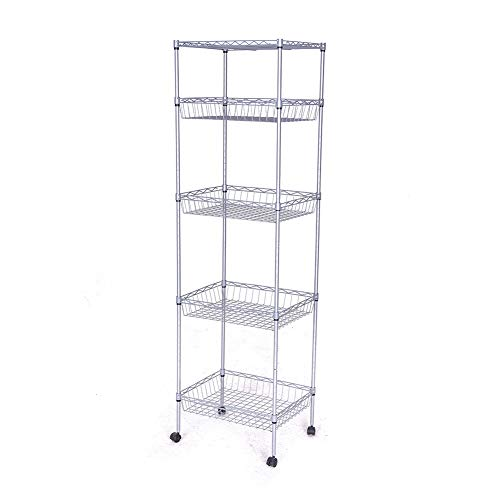 (JS HOME Storage Shelves, 5-Tier Wire Shelving Unit with Baskets, 13.78