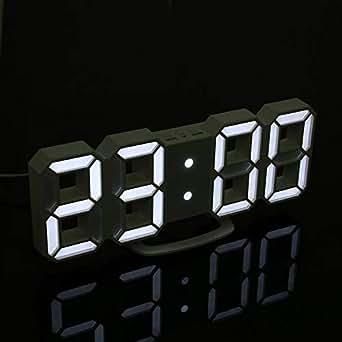 LIULINUIJ Reloj De Pared Reloj Despertador Digital Mesa De Luz Nocturna Para El Hogar Sala De Estar Escritorio De Oficina 24 O 12 Horas: Amazon.es: ...