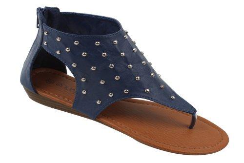 Womens Roman Gladiator Sandals Flats Shoes W/Studs (10, Navy 81013)
