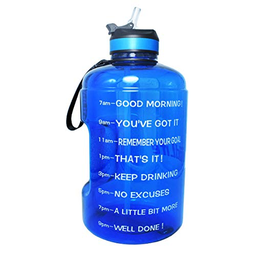 BuildLife 43OZ Motivational Water Bottle with Time Marked to Drink More Daily and Nozzle,BPA Free Reusable Gym Sports Outdoor Large Capacity (Blue, 43OZ)