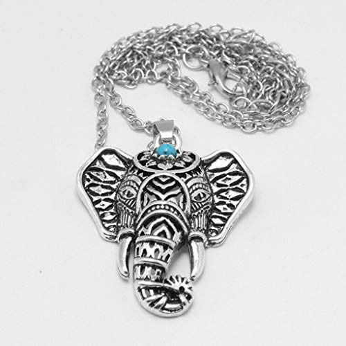 - Vinatge Women Silver Turquoise Elephant Pendants Necklaces Jewelry Gift Necklace Jewelry Crafting Key Chain Bracelet Pendants Accessories Best
