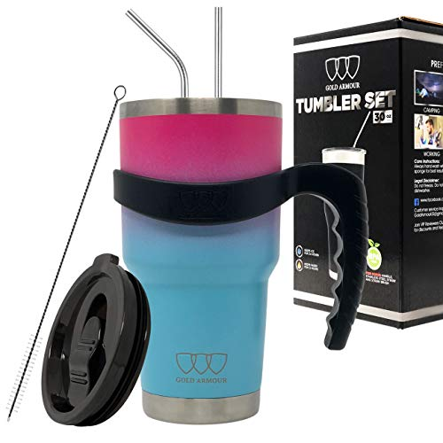 30 oz Tumbler - 6 Piece Stainless Steel Insulated Water & Coffee Cup Tumbler with 2 Straws, 1 Lid, 1 Handle - 18/8 Double Vacuum Insulated Travel Flask (Ombre: Pink and Sky Blue)