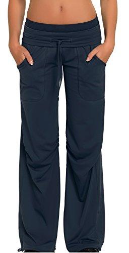 Damen Sporthose Jogginghose ideale Fitnesshose und Freizeithose mit breitem elastischem Gummibund, zwei Hosentaschen von Gwinner, Modell Miranda, lang, grau, XL