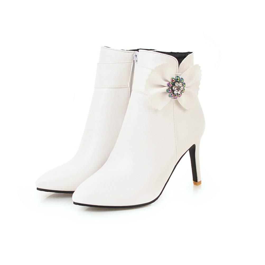 Damen Fashion Schleifen Winter Stiefeletten Spitz Spitz Spitz Stiletto Strass Reißverschluss Leder Kurze Stiefelie  688627