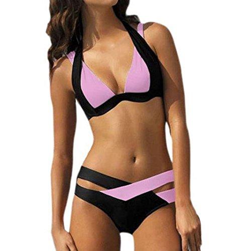 Beach Bandeau Swimsuit (Women Bikini Set,IEason Women's Sexy Two Piece Swimsuit Swim Beach Wear Print Bandage Swimwear Bikini Set (XXXL, Pink))