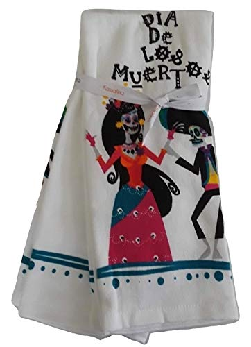 Kassafina Festive Day of The Dead Themed Skeleton Couple Dancing Set of Two Halloween Decorative Kitchen Towel Set -