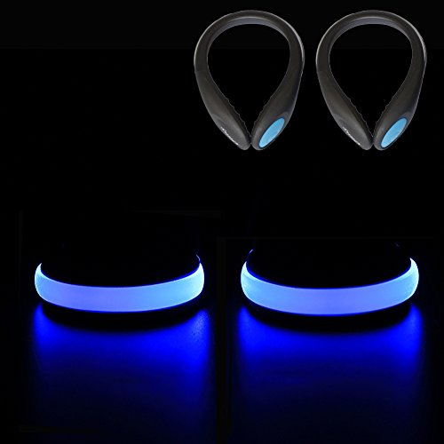 Ollny LED Safety Blue Lights for Runners, Reflective Shoes Clip Lights Gear with 2 Modes for Night Running Climbing Hiking Biking 1Pair with a - Card Cycle Gear Gift