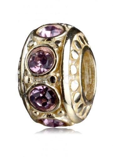 - 14k Gold Platted.925 Sterling Silver Charm With Swarovski Birthstone Crystal June Light Amethyst Fits Pandora, Biagi, Troll, Chamilla and Many Other European Charm #EC281