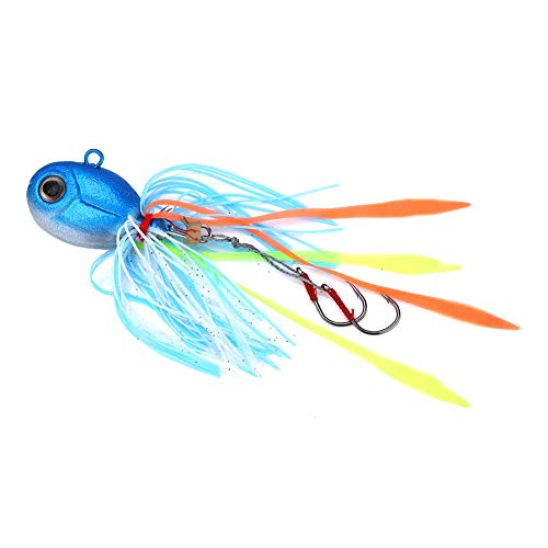 Dioche SeñUelos de Pesca, Ojos 3D Calamares Cabeza de Plomo SeñUelos de Pesca Cebo con Falda de Silicona Cañas de Pescar...
