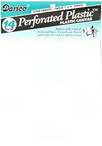 Darice 2-Piece Perforated Plastic No.14 Mesh Plastic Canvas, 8.25 by 11-Inch, Clear