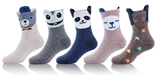 MOGGEI Baby Kids Boys Girls Toddlers Warm Fuzzy Cotton Winter Cute Animals Novelty Funny Christmas Socks 5 Pairs (Elephant x 1, Frog x 1, Sheep x 1, Bear x 1, (Fuzzy Cotton)