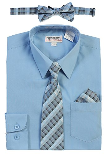 Gioberti Boy's Long Sleeve Dress Shirt and Plaid Tie Set, Sky Blue, Size 7 by Gioberti