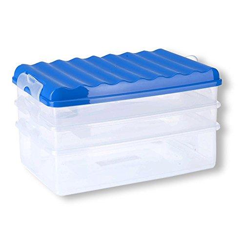HC-Handel 931122 Frischhalte-Stapelbox mit Deckel 3-teilig in verschiedenen Farben blau, rot, weiß oder grün