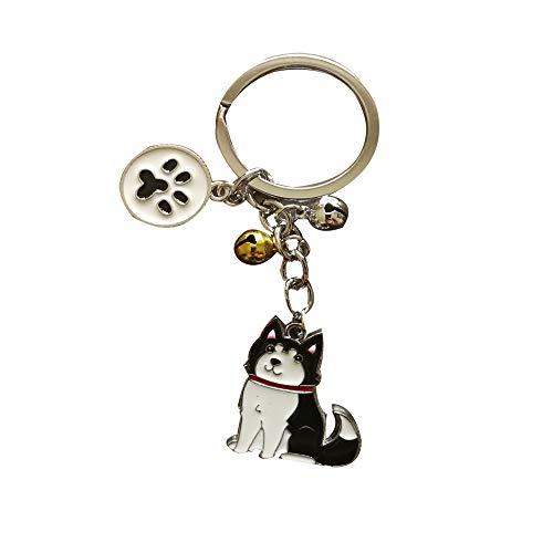 Dog Memorial Keychain,Pet Jewelry,Dog Pendant Key-Ring,Puppy ID Tags Metal Keyring Birthday (Alaskan Malamute)