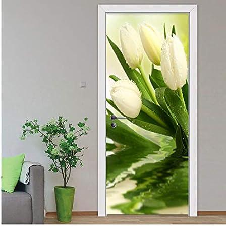PANDABOOM Etiqueta De La Puerta Moderna Planta Tulipanes Flor ...
