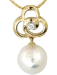 """14k Yellow Gold 7.5-8mm Cultured Pearl and Diamond Pendant with Small Wheat Chain Pendant Necklace, 16"""""""