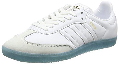 adidas Damen Samba Gymnastikschuhe Weiß (Footwear White/Footwear White/Bright Cyan)
