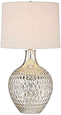 Waylon Modern Table Lamp Textured Mercury Glass Off White Tapered Drum Shade for Living Room Family Bedroom Bedside Office - 360 Lighting