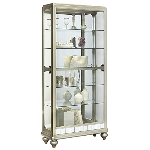 Beaumont Lane Mirrored Metallic Side Entry Curio Cabinet in Silver