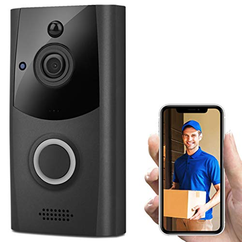 HighlifeS Smart Wireless WiFi Video Doorbell Two-Way Talk and Real-time Video Phone Visual Intercom Secure Camera (Black)