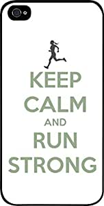 Keep Calm And Run Strong-White/Green-Hard Black Plastic Snap - On Case-Apple Iphone 5 - 5s - Great Quality!
