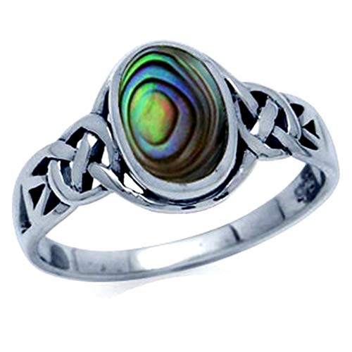 Silvershake Abalone Paua Shell Inlay 925 Sterling Silver Celtic Knot Solitaire Ring Size 8