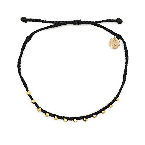 Pura Vida Gold Stitched Beaded Anklet Black - Waterproof, Artisan Handmade, Adjustable, Threaded, Fashion Jewelry for Girls/Women (Black Gold Anklet)