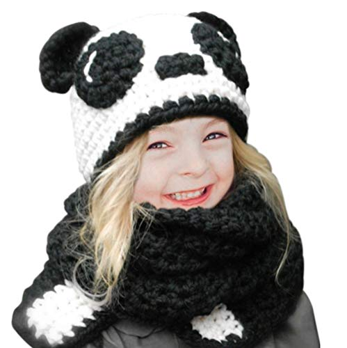 Tacobear Kids Hat Knit Warm Winter Hat Crochet Panda Animal Hat Scarf Coif Hooded Knitting Beanie Hat for Girls Baby Boys