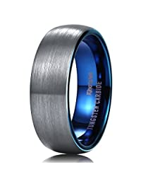 King Will DUO 7mm Blue Domed Tungsten Carbide Wedding Band Ring Brushed Polish Finished Comfort Fit
