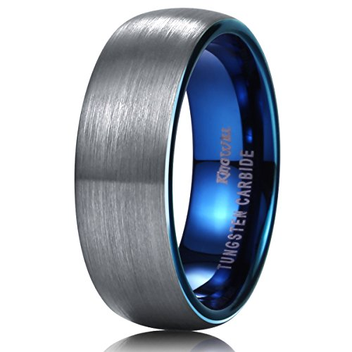 King Will DUO 7mm Blue Domed Tungsten Carbide Wedding Band Ring Brushed Polish Finished Comfort Fit11.5