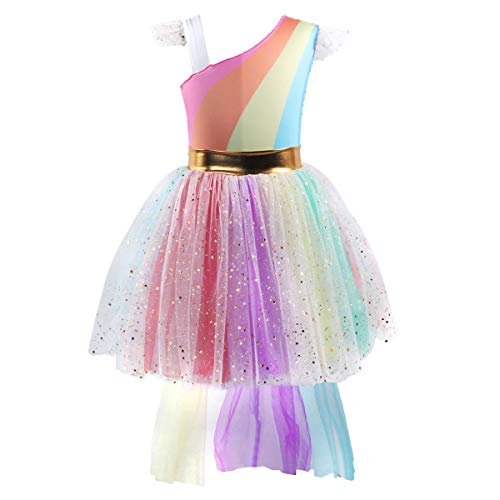 Girls Unicorn Dress up Costume Rainbow Sequins Tulle Ruffle Skirt Birthday Dresses Tutu Outfit Kids Princess Dressing Gown for Halloween Fancy Party Pageant Wedding Photography Cosplay 6-7 Years by OwlFay