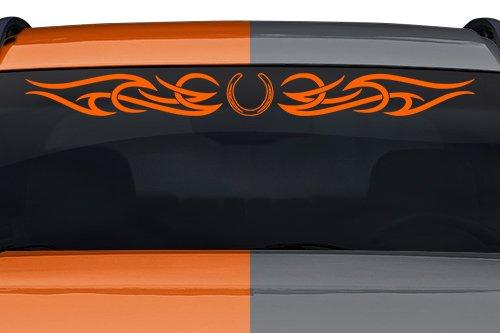 esign #165-01 Horseshoe Tribal Curls Swirl Windshield Decal Sticker Vinyl Graphic Back Rear Window Banner Tailgate Car Truck SUV Boat Trailer Wall | 36