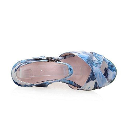 Amoonyfashion Femmes Hauts Talons Couleur Assortie Boucle Soft Matériau Peep-toe Sandales Bleu