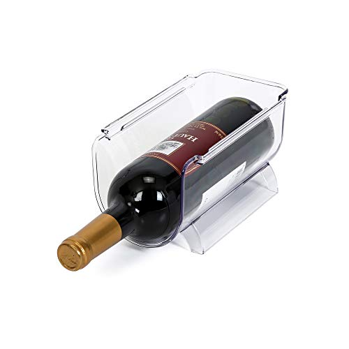 (Smart Design Refrigerator Wine Bottle Holder w/Handle - Holds 750 mL Bottle - BPA Free Plastic - for Fridge, Freezer, Pantry Organization - Kitchen (8 x 4.15 Inch) [Clear])