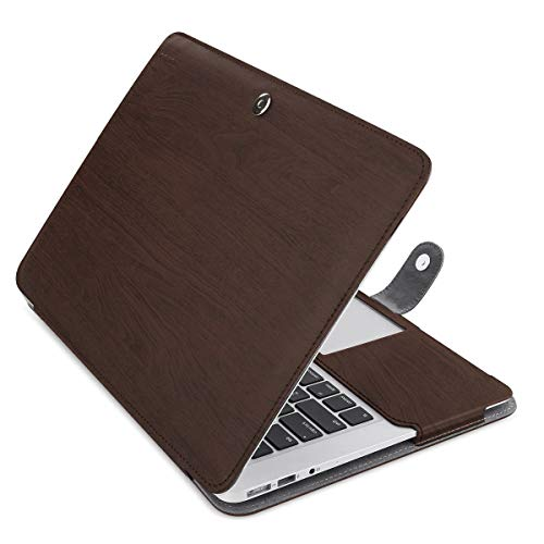 MOSISO MacBook Air 13 inch Case, Premium PU Leather Book Folio Protective Stand Cover Sleeve Compatible with MacBook Air 13 inch A1466 / A1369 (Older Version Release 2010-2017), Wood Grain Deep Brown