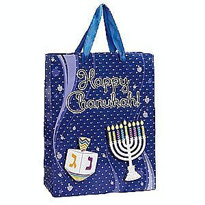 Large Chanukah Gift Bag with Foil and Glitter Accents - Chanukah Bag