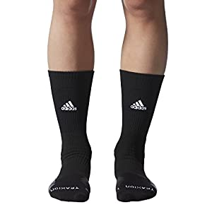 adidas Traxion Menace Basketball/Football Crew Socks, Black/White/Onix/Dark Grey, Large