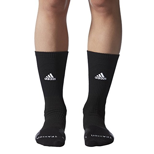 (adidas Traxion Menace Basketball/Football Crew Socks (1-Pack), Black/White/Onix/Dark Grey,)