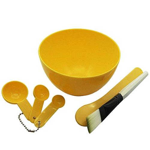 Saim Cosmetic 4 in 1 DIY Facial Mask Bowl Brush Stick Measure Spoon (Yellow)