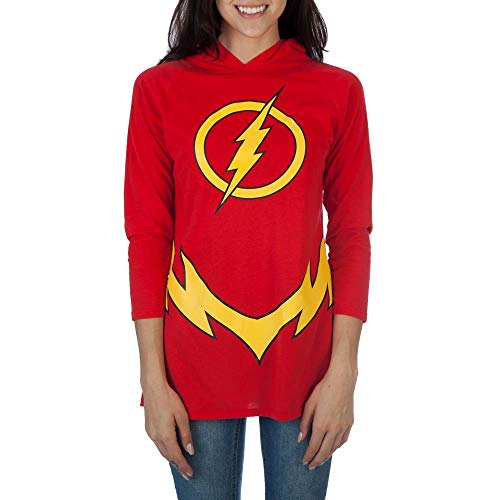 The Flash Logo Womens Hooded Raglan Costume Hoodie,Red,Large
