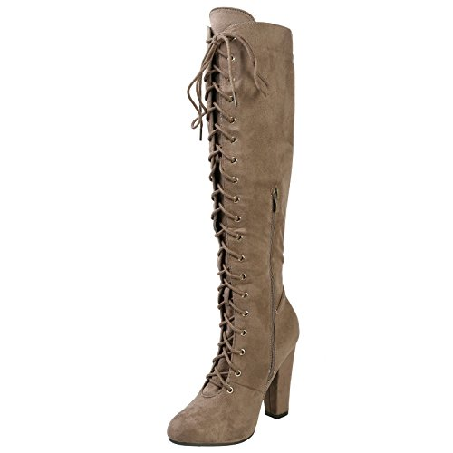 Faux Calf Womens Lace Serenity High Heel Taupe First Mid Feet up Suede Khaki Boots Fashion Block AawxUnBq