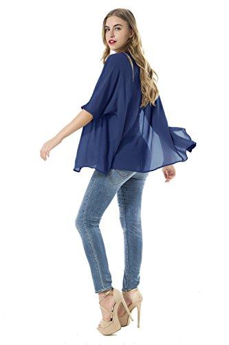 Las mujeres sueltan las chaquetas de la rebeca de la gasa del kimono del mantón de las blusas azul