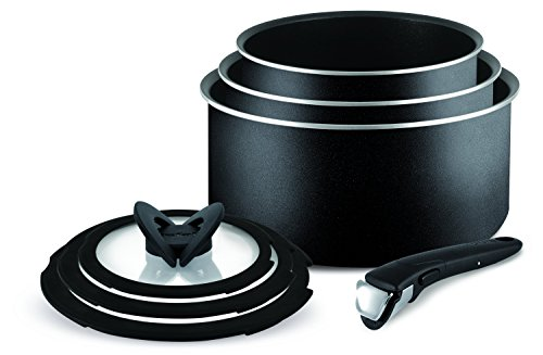 Tefal Ingenio Essential Non-stick Saucepan Set, 7 Pieces - Black by Tefal