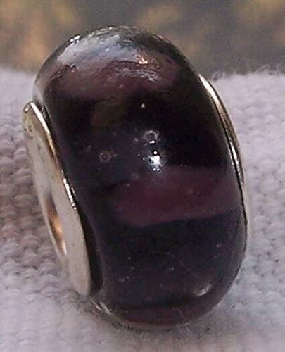Dark Purple Stripe Pattern Murano Glass Bead for European Charm Slide Bracelets