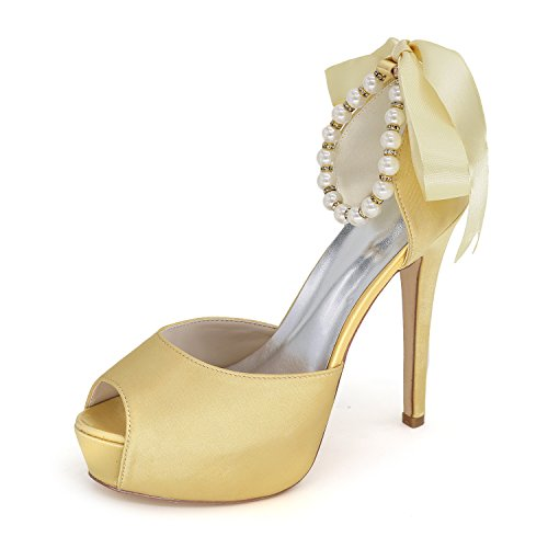 JIAME Womens Peep Toe Platform Heels Pumps Ankle Straps Buckle Satin Wedding Evening Party Prom Sandals Gold dEd58F4