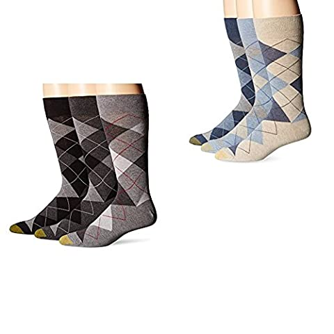 Gold Toe Men's Classic Cotton Argyle 3-Pack,Gray/Navy One Size