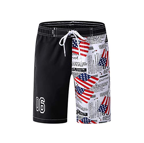 Boys Children's Swimtrunk Asymmetry American Flag Shorts Drawstring 4th of July (Black, Recommended Age:12-14 Years)