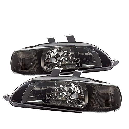 (For 92-95 Honda Civic 4 Door 1 Piece Smoke Pair Headlights Headlamps HeadLamp Clear Corner Lamp)
