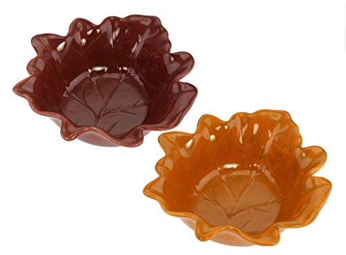 Leaf Shaped Bowl - KOVOT Leaf Shaped 7-Inch Ceramic Bowls - Set Of 2 (Brown And Orange)