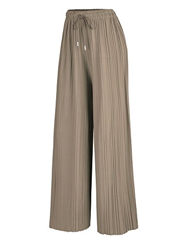 - Made By Johnny WB1484 Womens Pleated Wide Leg Palazzo Pants with Drawstring OneSize Khaki
